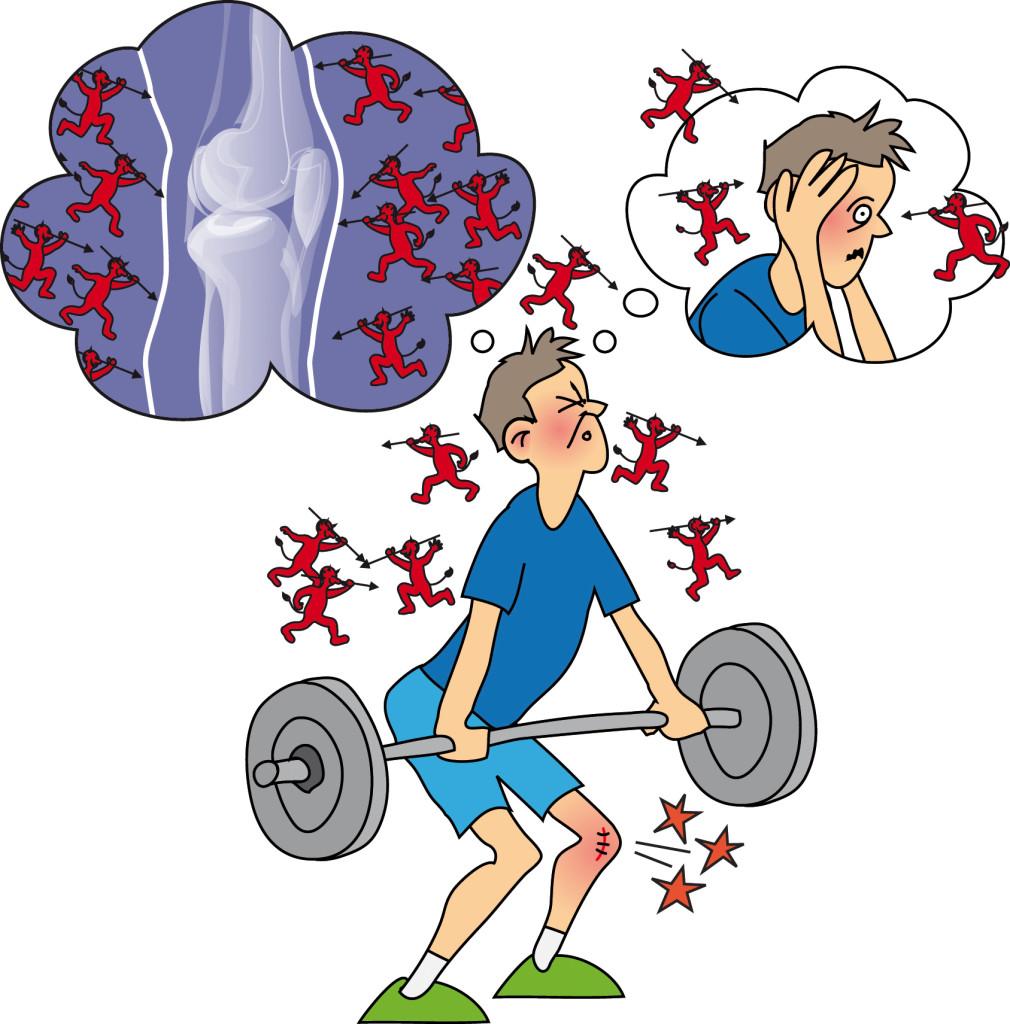Smärtsam träning kan öka smärtan genom en sensitiserings process i nervsystemet. Detta skapar ångest och oro som i sig själv ökar sensitiseringen. Det är därför viktigt att övningarna doseras på rätt sätt.